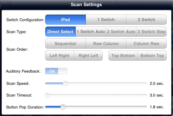Accès - Ipad - Configuration mode balayage